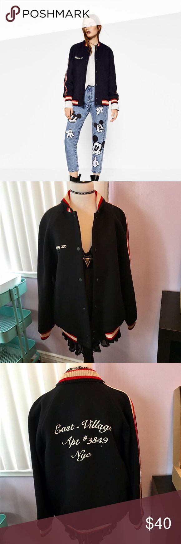 Zara wool baseball jacket New with tag , size L . Padded lining very warm . Navy blue. Zara Jackets & Coats