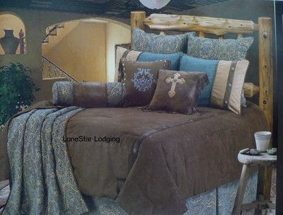Lodge brown turquoise tooled paisley comforter bedding set 5 pc ebay