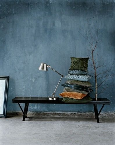 "Lime paint inspiration Achieve this look with ""Steel Blue"" Fresco lime paint of Pure & Original"