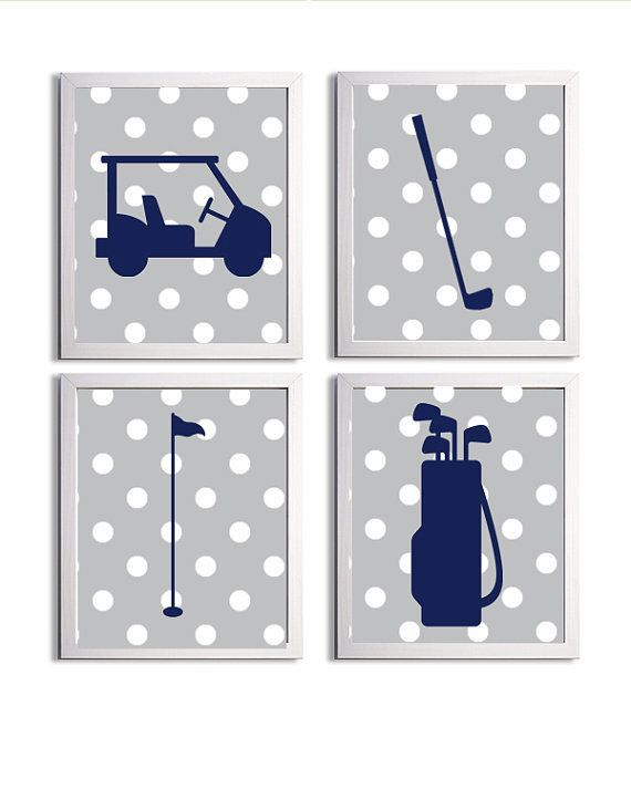 PREPPY BOYS NUSERY | Golf Sports Nursery Boy Girl Grey Navy Preppy Polka by ZeppiPrints, $ ...