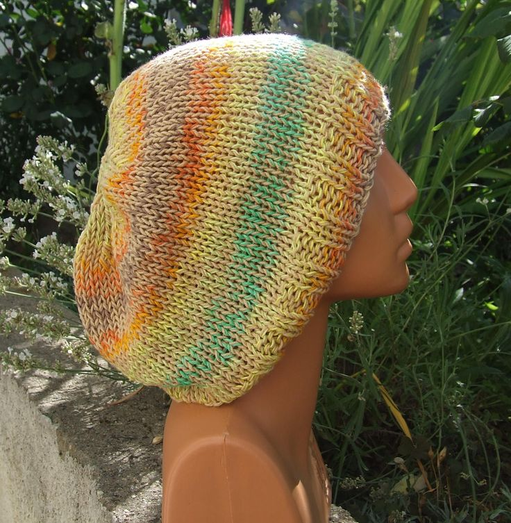 Loose knit slouchy hippy hat - Summer cotton boho style slouch beanie - Hand knitted multi coloured slouchy beanie by WoolieBits on Etsy