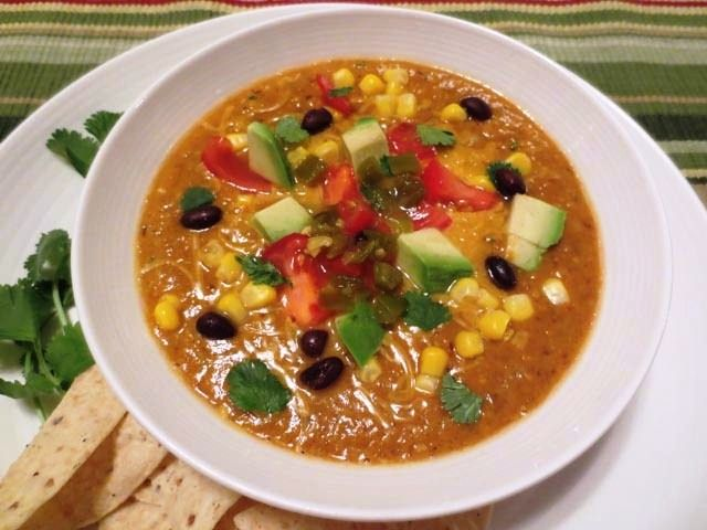 VitamixTortilla Soup, this is so fun to make in the vitamix. Hit the soup setting and 5 minutes later it stops and soup is hot and ready to eat!!