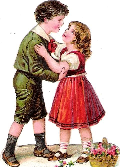 Oblaten Glanzbild scrap die cut chromo Kind child couple Paar