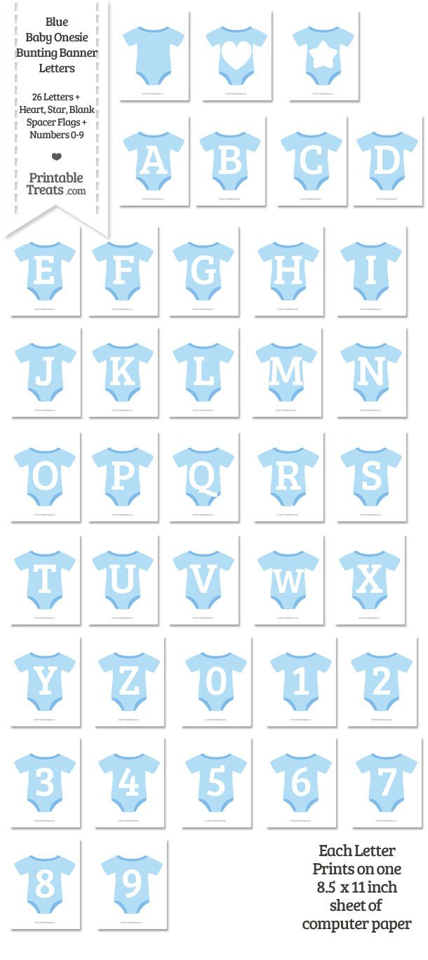 Blue Baby Onesie Shaped Banner Letters Download from PrintableTreats.com