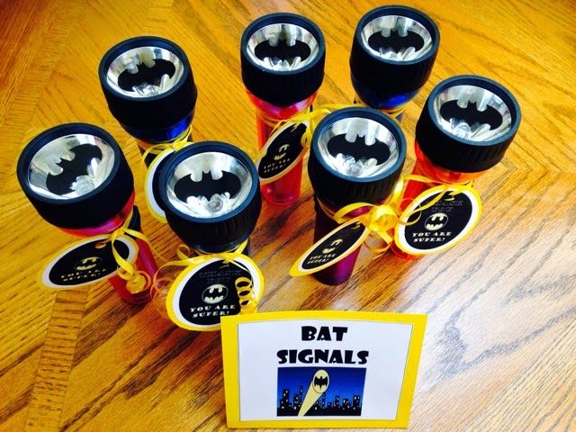 Little Mrs. Preschool: Batman Birthday Bash. Batman party favors: bat signal flashlights
