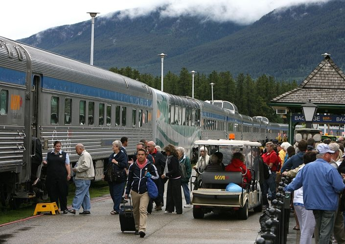 Ride the rail across the Canadian Rockies from Toronto to Vancouver! Passengers board at the Jasper station in the Canadian Rockies.