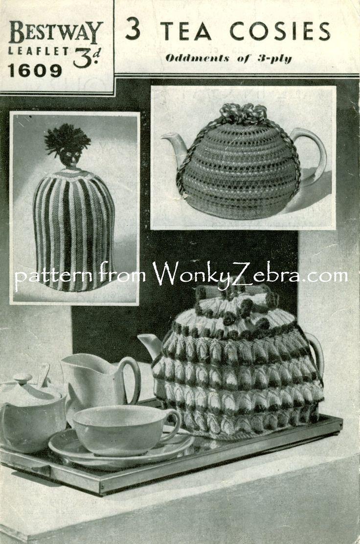 Vintage Knitting Pattern 015 Three Tea Cosies 1605 from WonkyZebra WZ015 015 Bestway 1605