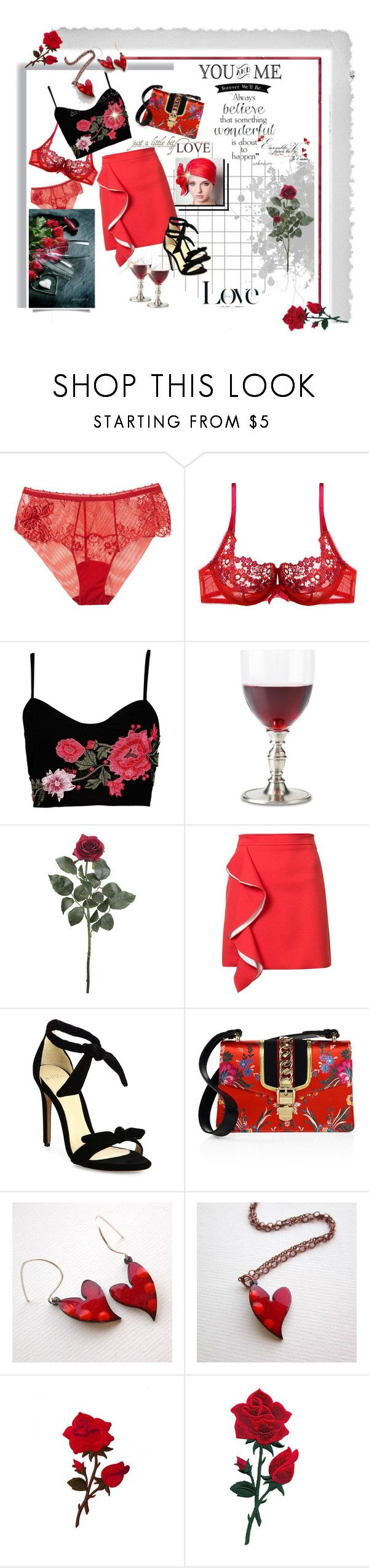"""""""Roses are Red"""" by lawvel ❤ liked on Polyvore featuring La Perla, Polaroid, Gossard, Boohoo, WALL, Match, MSGM, Alexandre Birman, David Beckham and Gucci"""
