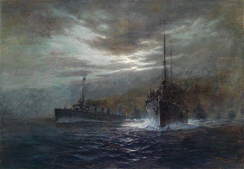 Nächtliches Konvoi, K. u. k. Flotte im Mondschein (Kreuzer der Admiral Spaun Klasse?) von August von Ramberg