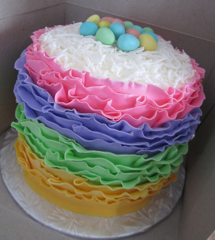 Fondant Ruffle's - Lately I have been seeing so many Fondant Ruffle cakes, I just had to give it a try.  I made this for my 2 kids and my 2 younger siblings for Easter.  The cake was topped with sweet coconut and Cadbury Mini Eggs.  It was a huge hit :)