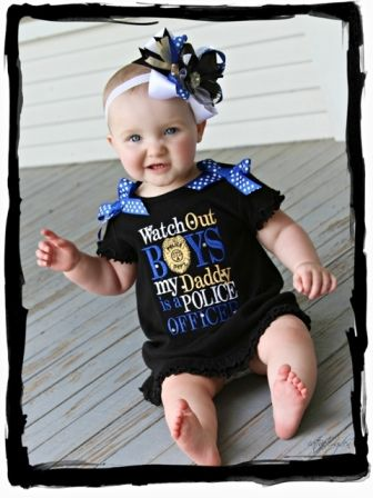 """Adorable Embroidery """"Watch out Boys my Daddy is a Police Officer"""" Infant Black Ruffle Dress...."""