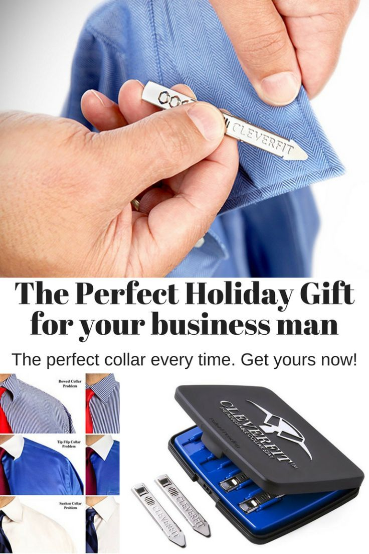 The perfect holiday gift idea for men who wear dress shirts. One set of collar stays to rule them all! This set is adjustable, comfortable and will last!    #giftformen #mensgiftidea #giftsfordad #stockingstufferforhim #giftforhim #christmasgiftidea