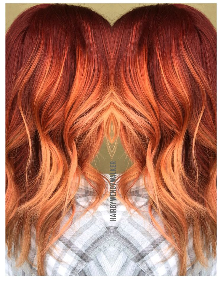 Red rose gold balayage. Red hair. Hair painting by Wendy Walker. Ombre, sombre, 2016 hair color trends. 2016 hair trends#rustic copper fall hair color trends