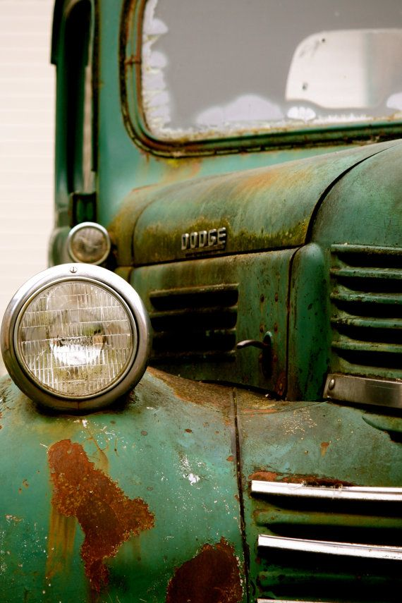 Green Dodge, Old Pickup Truck, Dodge Truck, Car Collector, 5x7 Photograph, FPOE, via Etsy.