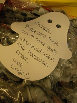 Cute idea to include others from his platoon. Happy Halloween care package