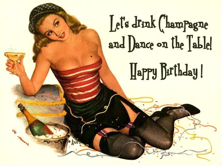 Al Moore Happy Birthday pin-up girl