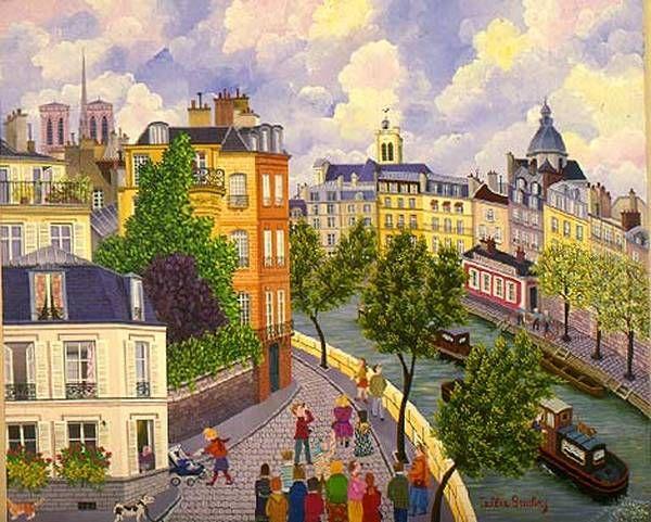 "Cellia Saubry, ""Bridge Of Birkheim"", French Naive Artist"