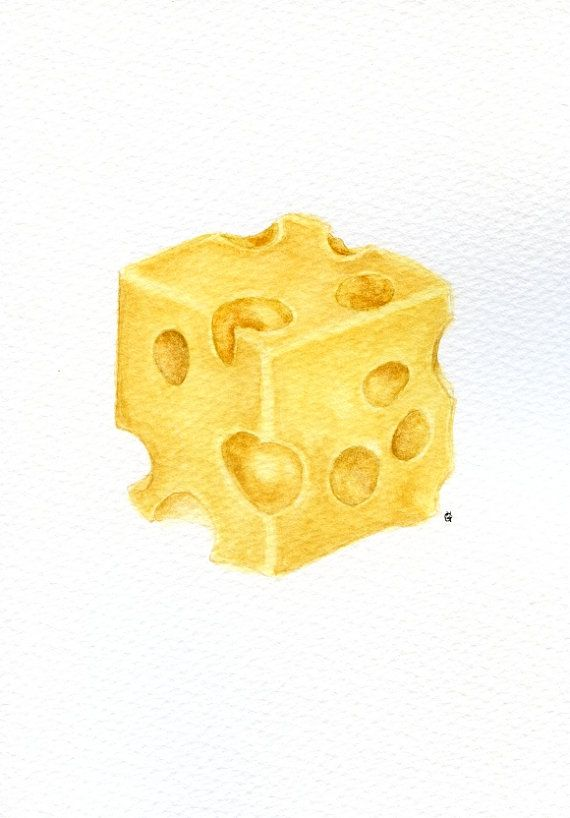 Swiss cheese - ORIGINAL Painting (Still Life, Kitchen Wall Art, Watercolour Food Illustration) 5x7