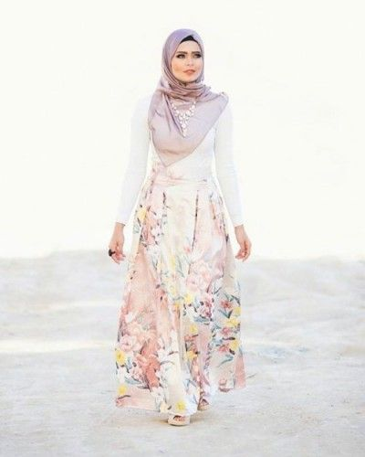 floral maxi skirt hijab spring outfit- Latest hijab trends http://www.justtrendygirls.com/latest-hijab-trends/