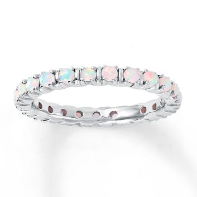 Sterling Silver Stackable Opal Ring