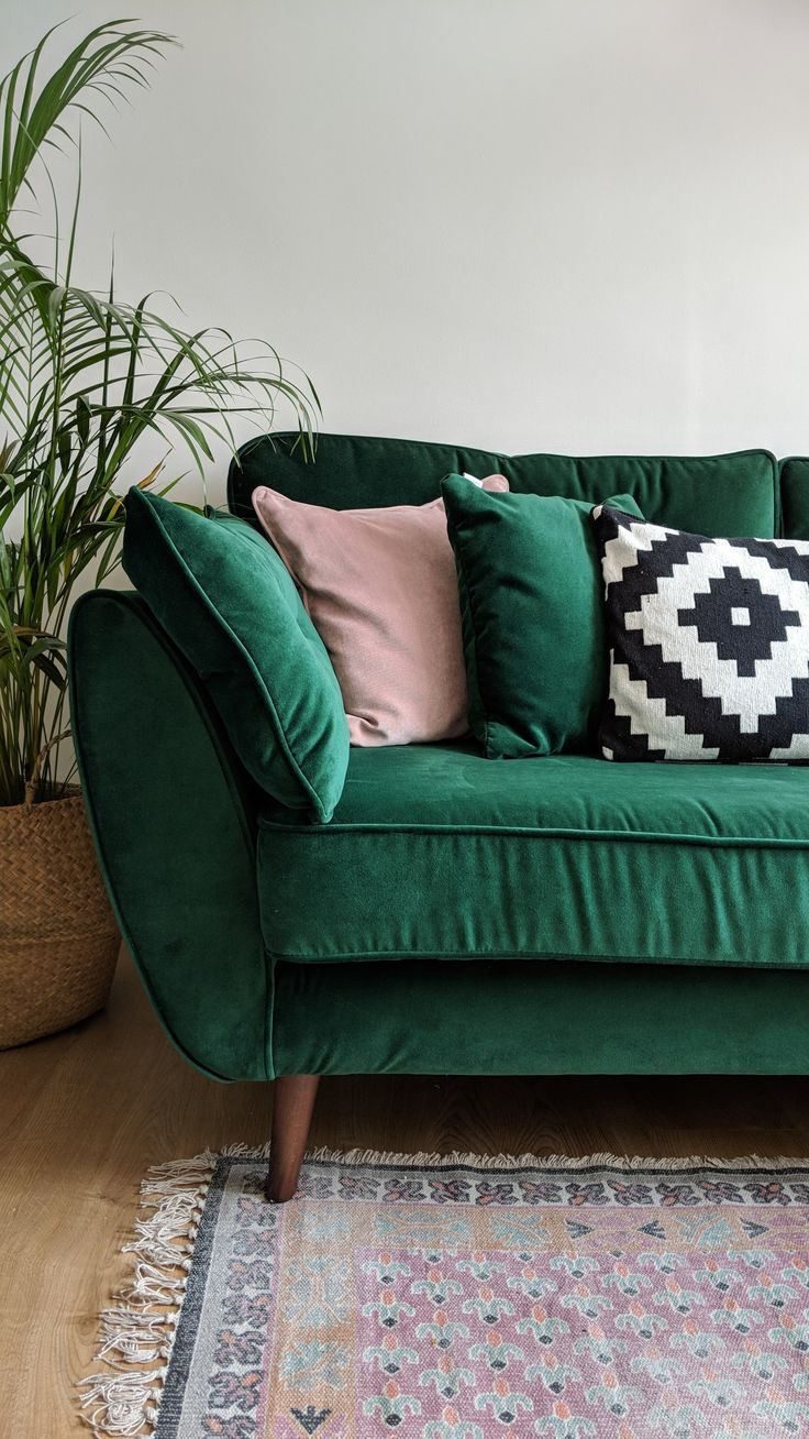 Zinc Dfs Sofa In Velvet Green Teamed With French Connection Pink Rug A Homely Mid Centu Green Living Room Decor Mid Century Living Room Decor Pink Living Room