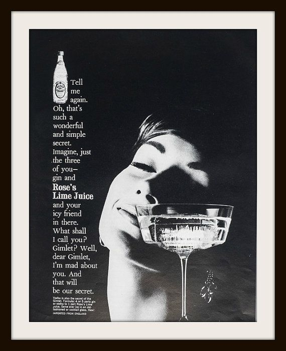 1960 Rose's Lime Juice advertisement. Vintage Rose's ad, Vintage Lime Juice ad, Vintage beverage ad. Vintage Esquire ad
