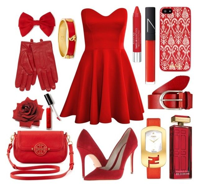 """""""Red"""" by victoriabudihalim ❤ liked on Polyvore featuring Elie Tahari, Forever 21, Tory Burch, Isotoner, Vanzetti, NARS Cosmetics, Elizabeth Arden, Isadora, C. Wonder and Fendi"""