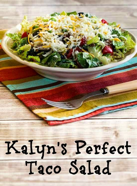 Everyone has their own taco salad preferences, but Kalyn's Perfect Recipe for Taco Salad is the way I have made it for years.  #LowCarb, #GlutenFree [from KalynsKitchen.com]