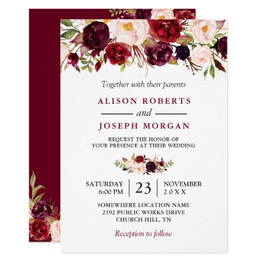 16 best watercolor flower wedding invitations images on pinterest watercolor burgundy red floral rustic boho wedding card stopboris Images