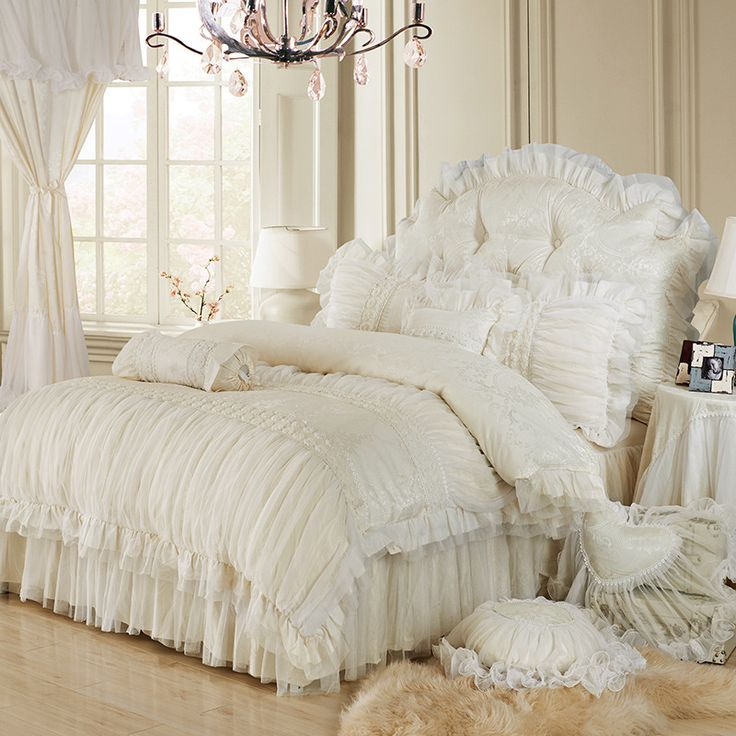Cheap cover jar, Buy Quality textile services directly from China textile wallcovering Suppliers: Luxury lace ruffle bedding set, twin queen king cotton girl, french princess wedding home textile bedspread quilt cover