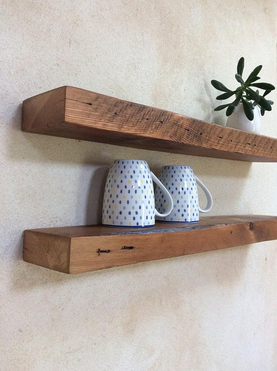 A Nice Rustic Set Of Shelves To Liven Up Your Walls With Its Warm Caramel And Ear Rustic Wood Floating Shelves Floating Shelves Reclaimed Wood Floating Shelves