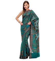 Teal Green Banarasi Chanderi Cotton Saree | Fabroop USA | $44.99 |