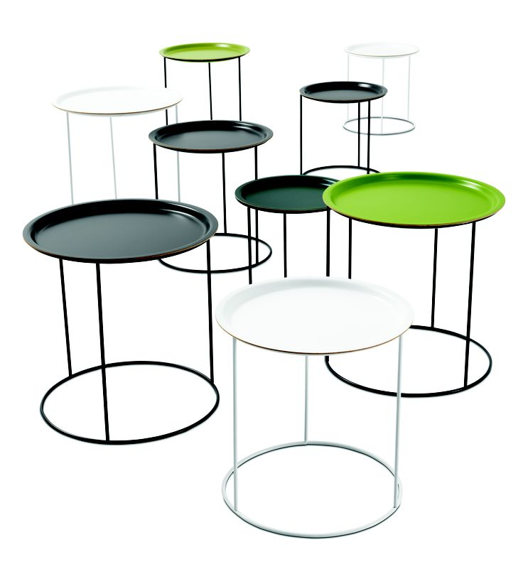 Nest of Tables . 3 pcs,shades of green lacquered/matt black lacquered