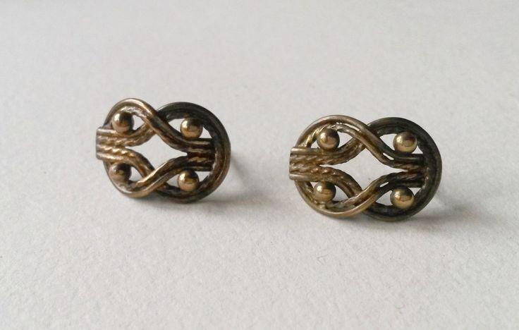 """Vintage Kalevala Koru """"Teljänneito"""" Bronze Stud Earrings, Finland (F244) by LifeUpNorth on Etsy"""