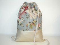Girar bolsa de lona mochila perlas de cuero flor