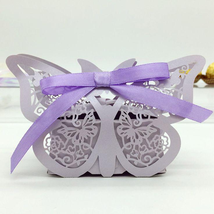 Aliexpress.com: Comprar 2015 nuevo 20 unids Romantic Mini patrón de mariposa del caramelo del caramelo cajas regalo de la galleta caja banquete de boda con cinta púrpura de caja de ventanas fiable proveedores en Magic sky
