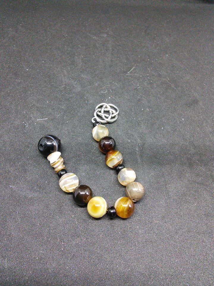 Brown banded agate pagan prayer beads, meditation beads