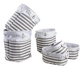 Set à linge, coton et corde - blanc et gris