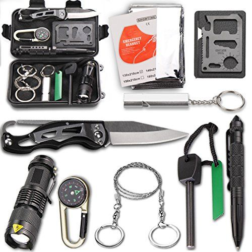 Survival Kit EMDMAK Outdoor Emergency Gear Kit with Emergency Survival Tent for Camping Hiking Travelling or Adventures (Black 2). For product info go to:  https://all4hiking.com/products/survival-kit-emdmak-outdoor-emergency-gear-kit-with-emergency-survival-tent-for-camping-hiking-travelling-or-adventures-black-2/
