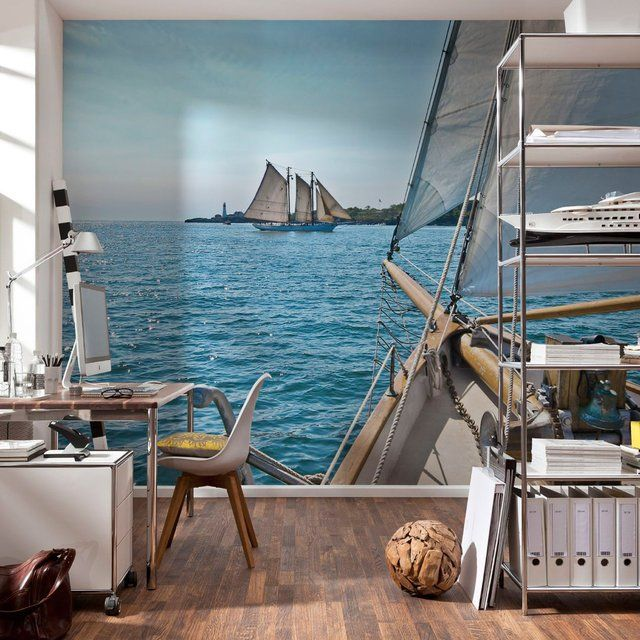 This Sailing #Wall #Mural stretches more than 12 feet wide and over 8 feet high, and is made to cover an entire #wall. - http://thegadgetflow.com/portfolio/sailing-wall-mural/
