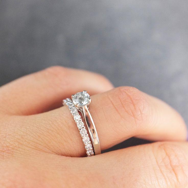 Bague Aube en or blanc et quartz avec son alliance Pénélope en or blanc et diamants - Gemmyo