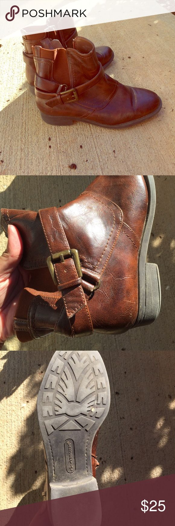 Size 6 Brown Boots Cute brown booties perfect with gold metal clasp. Size 6 Man made. Kim Rogers Shoes Ankle Boots & Booties