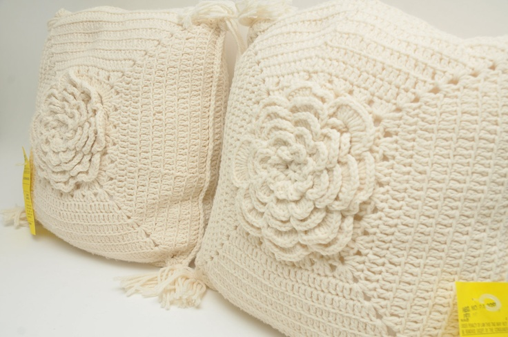PAIR of Vintage Handmade Crocheted Pillows MINT Flowers Nursery Shabby Cottage Chic 1940s 1950s. $40.00, via Etsy.