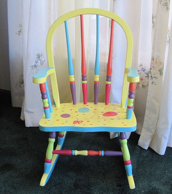 Colorful child's rocking chair