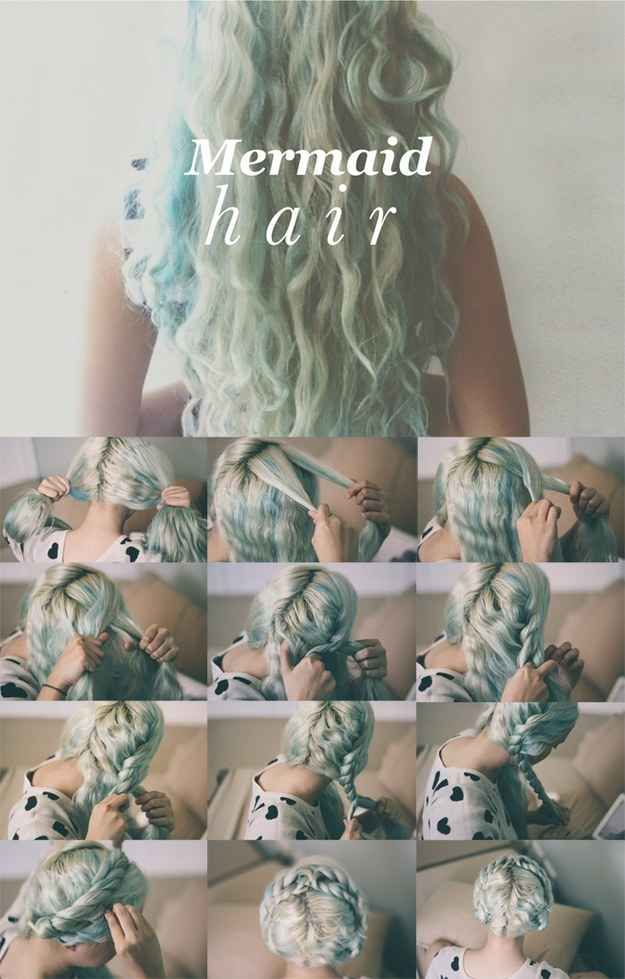 This overnight mermaid hair idea looks just as cute in its setting phase, so wear the Heidi-esque updo, and let it out 24 hours later.