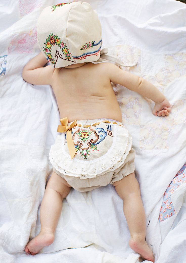 Handmade Baby Toddler Bonnet & Bloomers With Vintage Embroidery | StVandCompany on Etsy