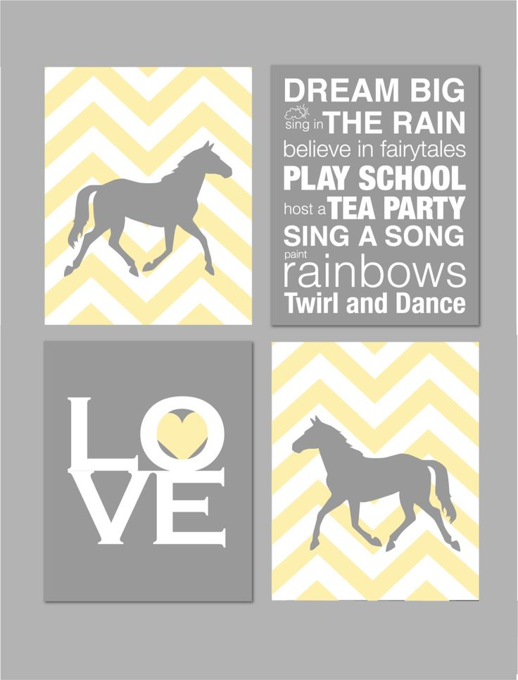"Baby Girl Nursery Art Horse Nursery Girl Room Decor Yellow and Gray Horse Silhouette Chevron Nursery Elephant Nursery Set of four 8""x10""s by karimachal on Etsy https://www.etsy.com/listing/181243404/baby-girl-nursery-art-horse-nursery-girl"