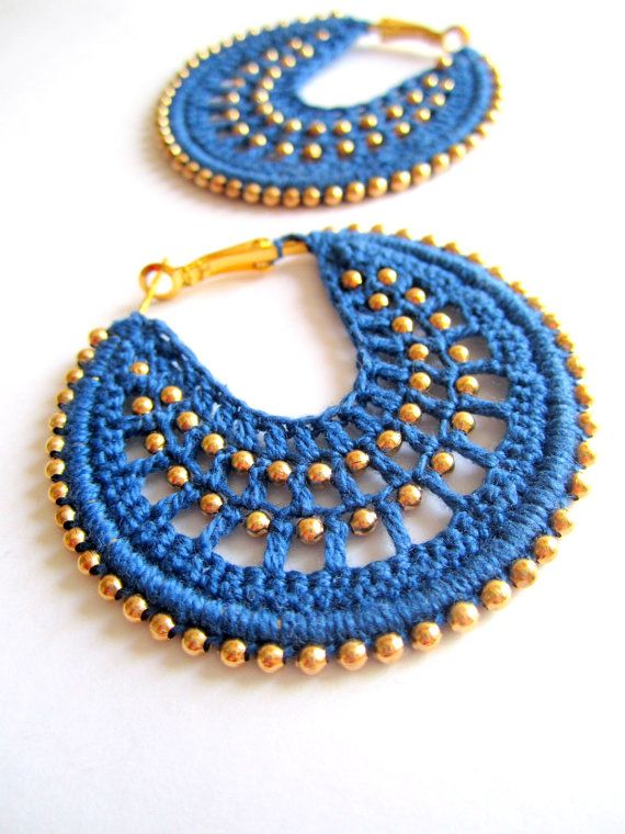 Crocheted hoops in Dusty Blue and bronze by BohemianHooksJewelry