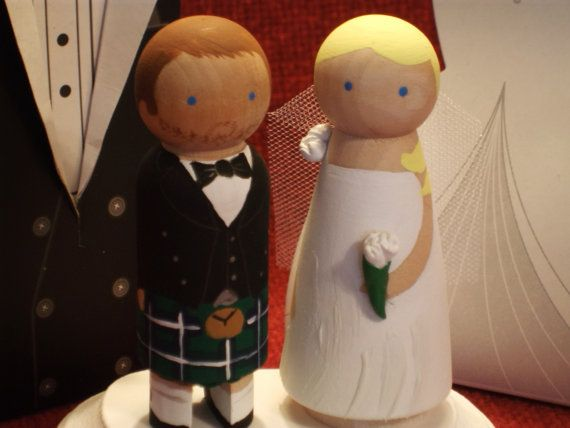 I almost got these...kind of wish I had now. So cute!   Kilt Custom Theme Wedding  Wooden Wedding by IttyBittyWoodShoppe, $60.00
