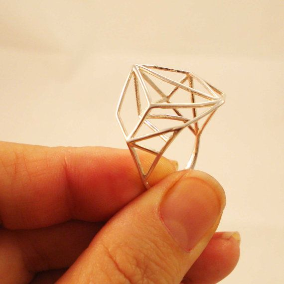 Architectural Structure Wide Geometric Sterling Silver Ring: Geo Silver, Geometric Rings, Architecture Silver, Design Silver, Sterling Silver Rings